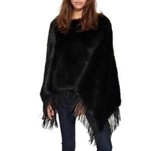 NWT Philanthropy 'Audrey' faux fur black poncho